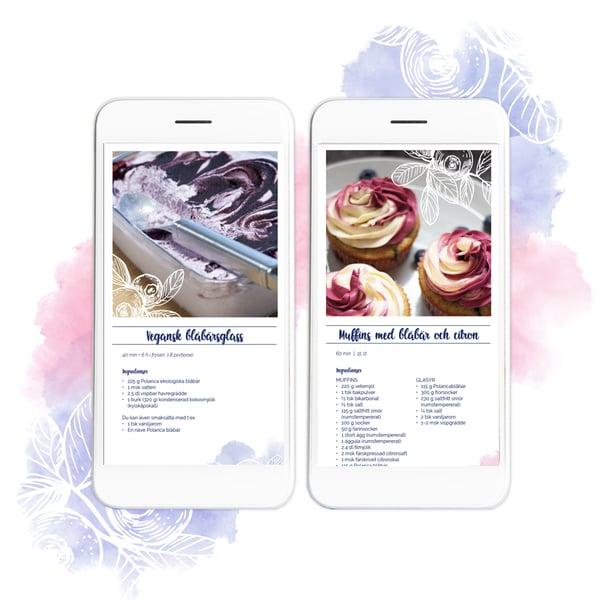 Polarica sommarens receptbok med vegansk blåbärsglass och muffins med blåbär och citron